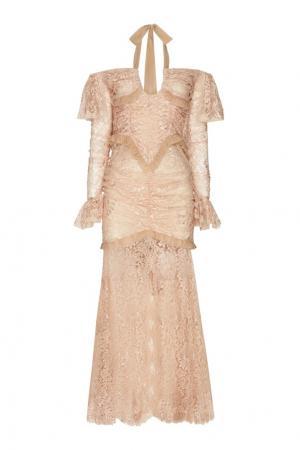 Кружевное платье Alessandra Rich. Цвет: бежевый