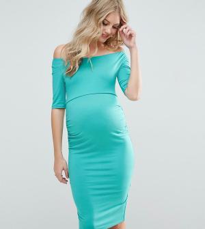 ASOS Maternity Платье для беременных с широкой горловиной. Цвет: зеленый