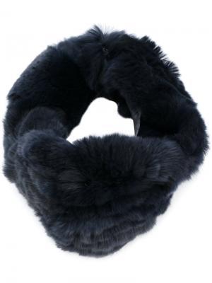 Меховой ободок для волос Yves Salomon Accessories. Цвет: синий