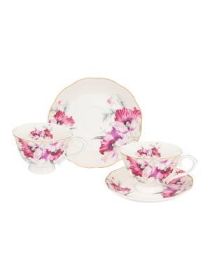 Чайная пара Серебристый мак Elan Gallery. Цвет: белый,серебристый,лиловый