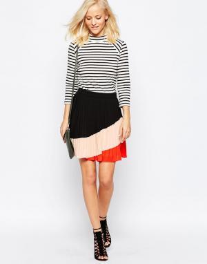 Greylin Плиссированная юбка колор блок. Цвет: красный