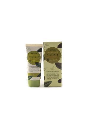 Многофункциональный разглаживающий ББ крем с семенами зеленого чая, 40 гр Farm Stay. Цвет: белый