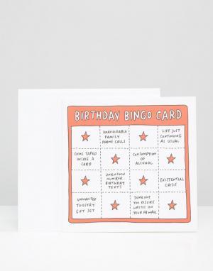 Veronica Dearly Поздравительная открытка на день рождения Bingo. Цвет: мульти