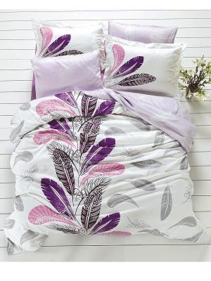 Комплект постельного белья ЕВРО БАМБУК MARIPOSA. Цвет: белый, серый, сиреневый, черный