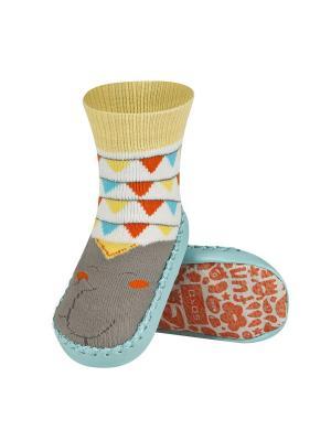 Тапочки-носочки детские SOXO. Цвет: серый, голубой, желтый