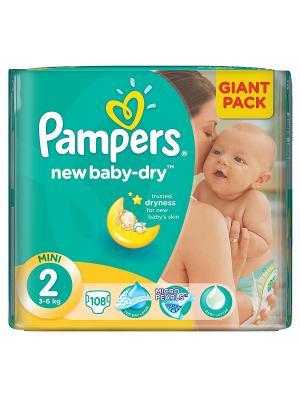 Подгузники New Baby-Dry 3-6 кг, 2 размер, 94 шт. Pampers. Цвет: зеленый