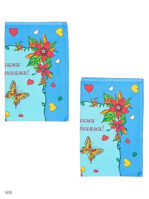 Набор полотенец праздничных Римейн. Цвет: синий, голубой