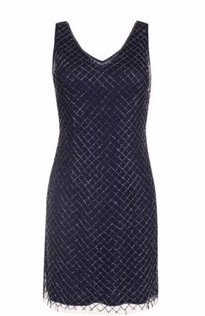 Платье с V-образным вырезом и вышивкой бисером Basix Black Label. Цвет: темно-синий