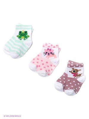 Носки, 3 пары PERA MAYA. Цвет: бледно-розовый, коричневый, светло-зеленый
