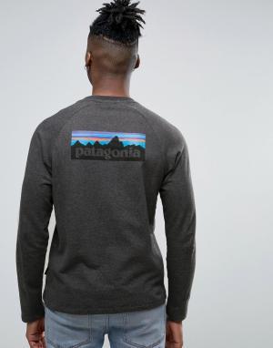 Patagonia Черный меланжевый легкий свитшот узкого кроя с логотипом на спине Pata. Цвет: черный