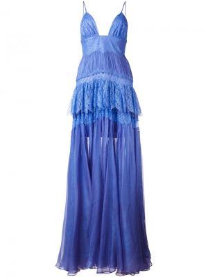 Вечернее платье Claraamparo со сборками Maria Lucia Hohan. Цвет: розовый и фиолетовый