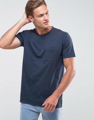 Abercrombie & Fitch Темно-синяя облегающая футболка с карманом. Цвет: темно-синий