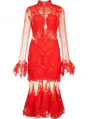 Прозрачное платье с оборочным подолом Jonathan Simkhai. Цвет: красный