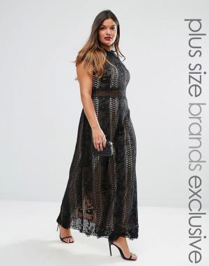 Truly You Платье макси с кружевными вставками и короткими рукавами. Цвет: черный
