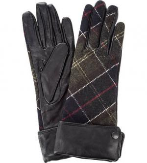 Кожаные перчатки с шерстяными вставками Barbour. Цвет: черный