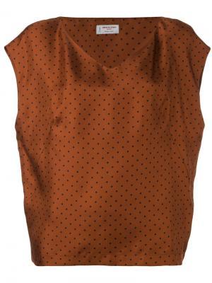 Блузка с V-образным вырезом Alberto Biani. Цвет: коричневый