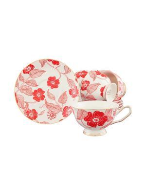 Чайный набор Цветок красный на белом Elan Gallery. Цвет: красный, белый