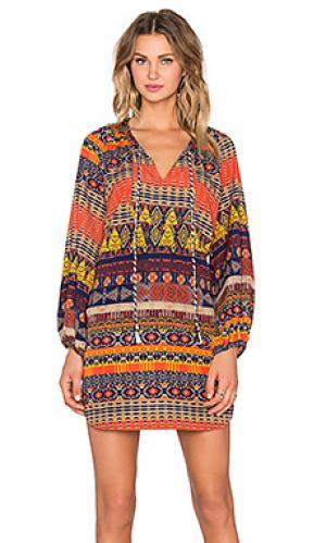 Платье-футляр с длинным рукавом T-Bags LosAngeles. Цвет: оранжевый