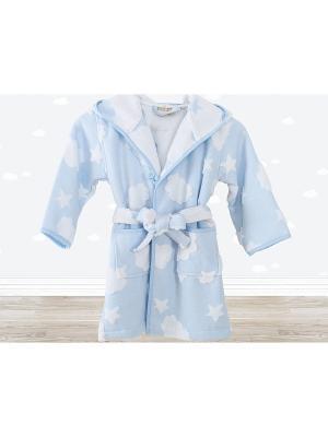 Халат баннй CLOUD Голубой IRYA. Цвет: голубой