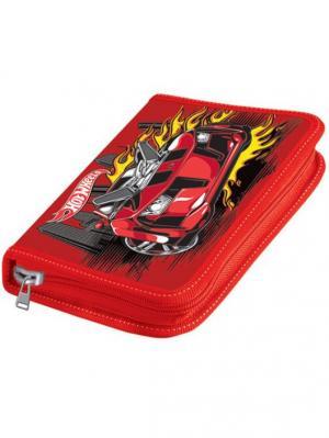 Пенал двустворчатый широкий Mattel HW красный, пустой. Цвет: красный