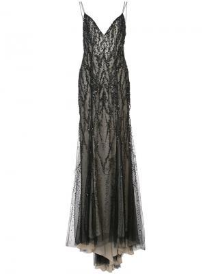 Вечернее платье с вышивкой Monique Lhuillier. Цвет: чёрный