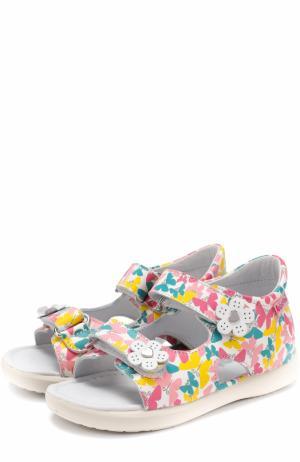 Кожаные сандалии с принтом и аппликациями Falcotto. Цвет: разноцветный