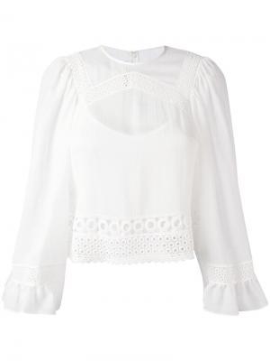 Блузка с кружевными вставками McQ Alexander McQueen. Цвет: белый