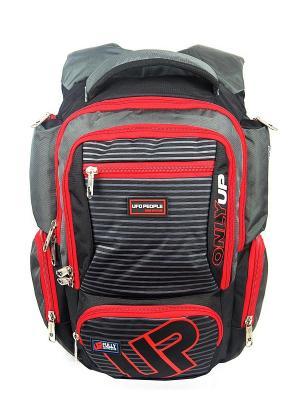 Рюкзак UFO PEOPLE. Цвет: серый, красный