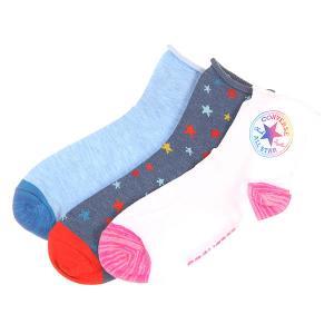 Носки средние женские  3pp Chuck Patch Shortie Quarter Multi Converse. Цвет: мультиколор