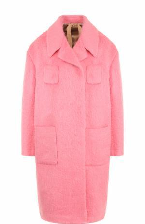 Шерстяное пальто прямого кроя с карманами No. 21. Цвет: розовый