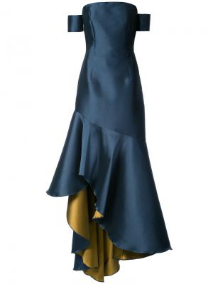 Атласное вечернее платье Walla Sachin & Babi. Цвет: синий
