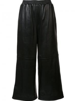 Кожаные брюки-палаццо Tome. Цвет: чёрный