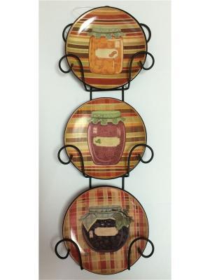 Набор из 3-х тарелок декор-ых наст-ых фаянса Magic Home. Цвет: оранжевый