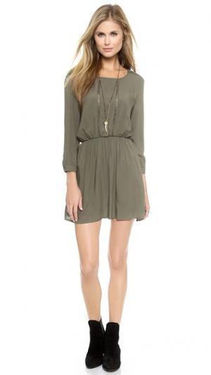 Платье с длинным рукавом ANINE BING. Цвет: темно-оливковый