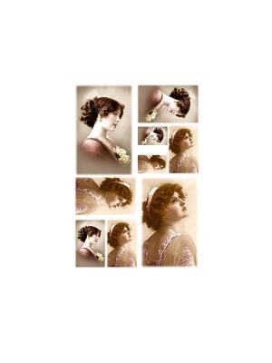 Декупажная карта 32*45см Женские ретро фото Idigo. Цвет: сиреневый, прозрачный
