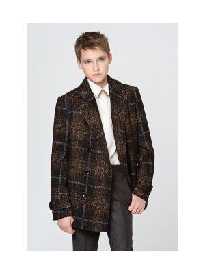 Пальто укороченное MORU. Цвет: коричневый
