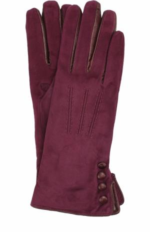 Замшевые перчатки с кашемировой подкладкой Sermoneta Gloves. Цвет: бордовый