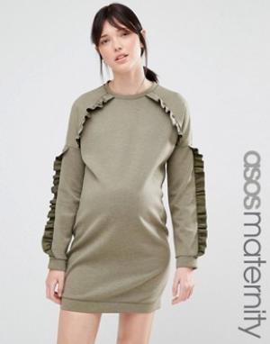 ASOS Maternity Платье-футболка для беременных с рюшами. Цвет: зеленый