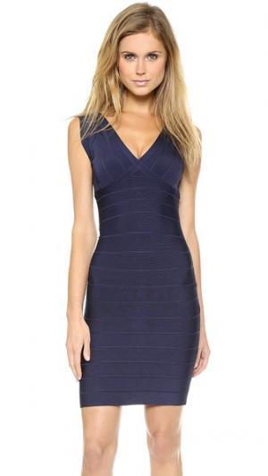 Коктейльное платье без рукавов Herve Leger. Цвет: тихоокеанский синий