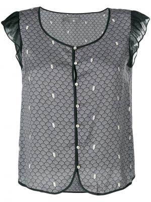 Блузка с вышивкой Cotélac. Цвет: серый