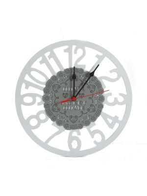 Часы настенные Кружевное чудо 30 см Русские подарки. Цвет: серо-голубой, бежевый