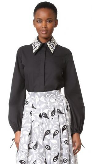 Рубашка с вышивкой и воротником Holly Fulton. Цвет: черный/белый