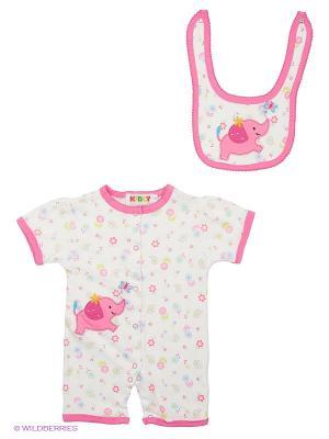 Комплект одежды (комбинезон+нагрудник) Kidly. Цвет: розовый