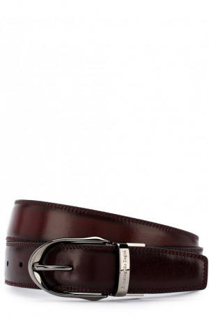 Кожаный ремень с металлической пряжкой Ermenegildo Zegna. Цвет: бордовый