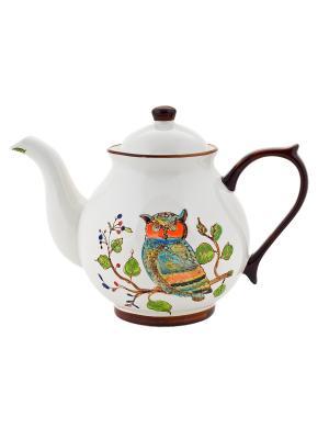 Чайник Сова 730мл в п/у Elff Ceramics. Цвет: белый, коричневый