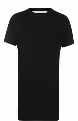 Удлиненная хлопковая футболка с круглым вырезом Isabel Benenato. Цвет: черный