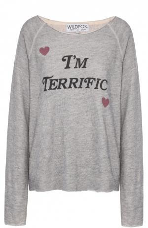 Пуловер свободного кроя с контрастной надписью Wildfox. Цвет: серый