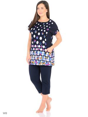 Домашний костюм ( кофта, бриджи) HomeLike. Цвет: темно-синий, голубой, белый