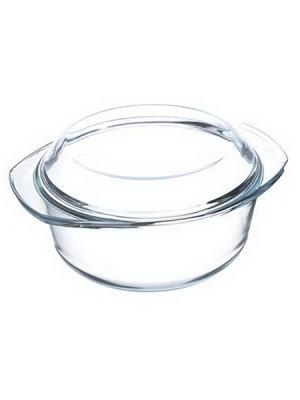 Кастрюля жаропрочная с крышкой, стекло, 27х22х13см, 2,5л Satoshi. Цвет: белый