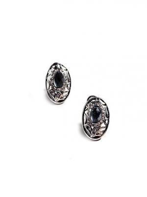 Серьги Черный кристалл Chocopony. Цвет: серебристый, черный